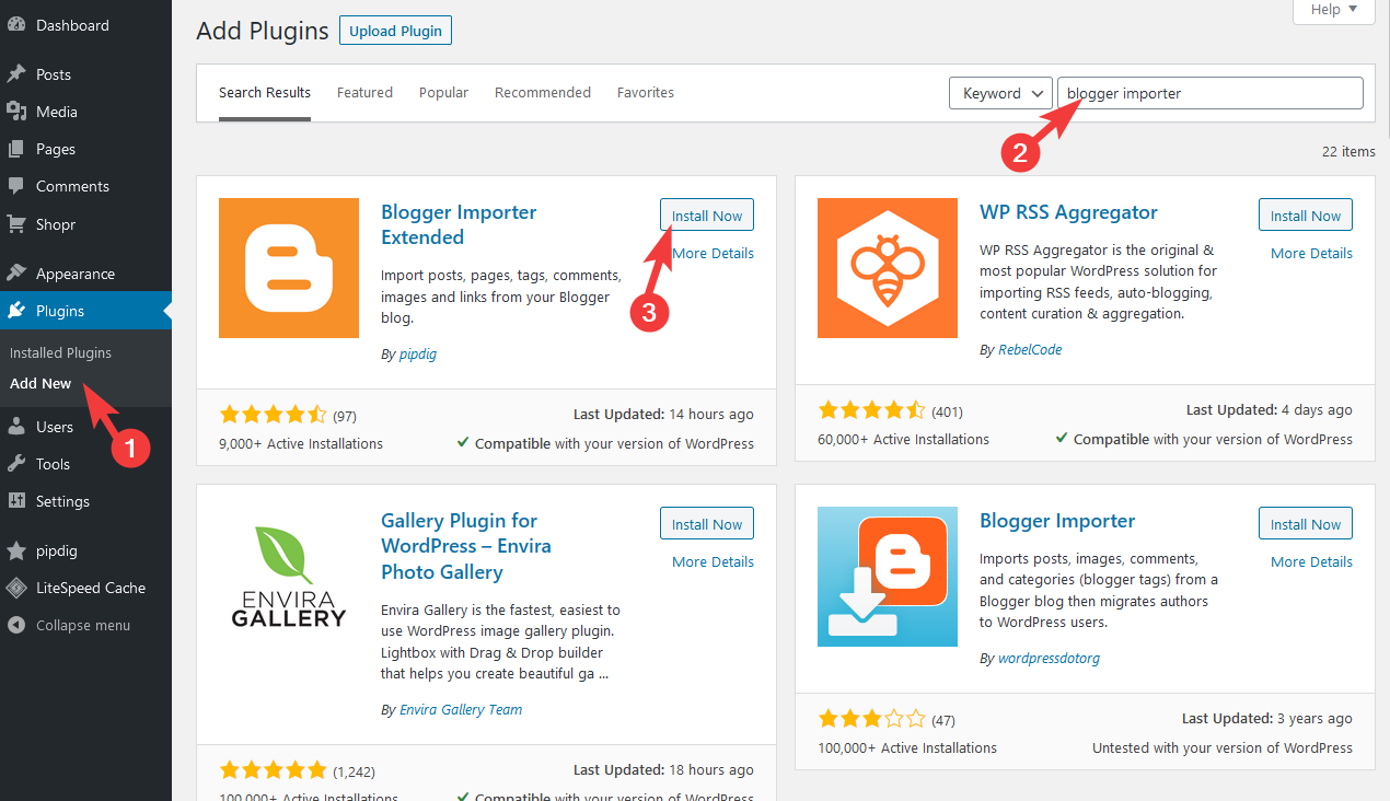 How to install Blogger Importer Extended